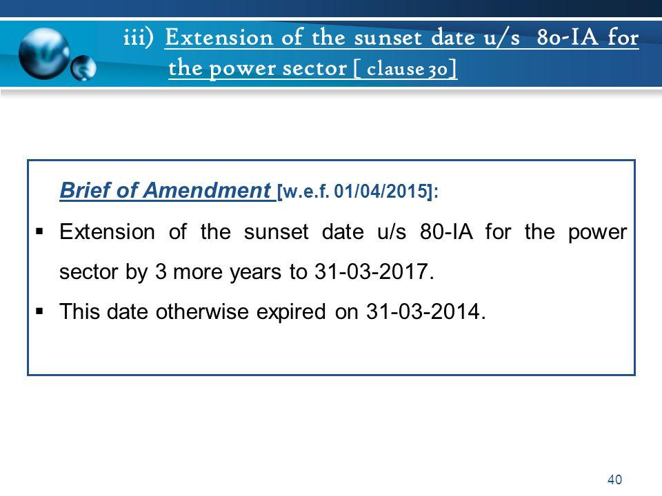 Brief of Amendment [w.e.f. 01/04/2015]:
